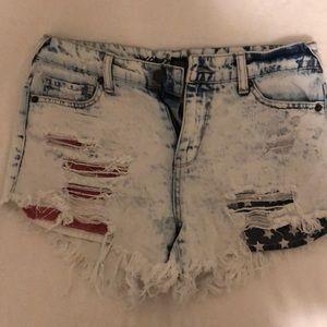 High rise acid wash jean short